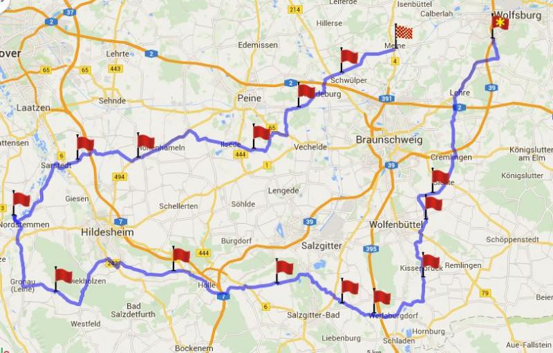Route der Tour zur Marienburg